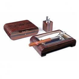 Набор сигарных аксессуаров Gentili на 15 сигар (SET-SV10-Croco-Brown)
