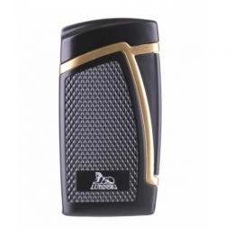 Зажигалка Lubinski «Дрэгон» турбо, двойное пламя, черно-золотистая (WJ300-5)